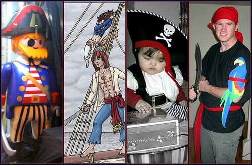 Images of pirates engaged in various activities