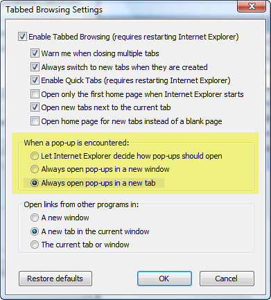 Tabbed Browsing - Open Popups in New Tab