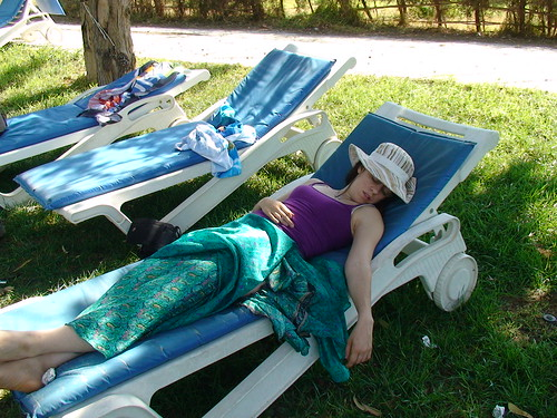 Niki sleeping at Governor's Beach