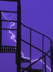 †hunderstorm stairs silhouette photo by Fer Gregory