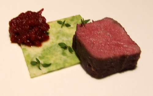 Ideas in Food - Prime Sirloin - pecorino-edamame mosaic, summer savory, smoked tomato jam