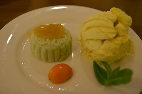Green Tea Moon Cake with Red Beans and Ginger Icecream