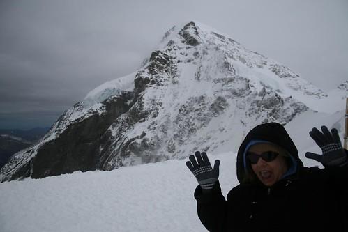 Ambivalent Auntie atop the Jungfraujoch