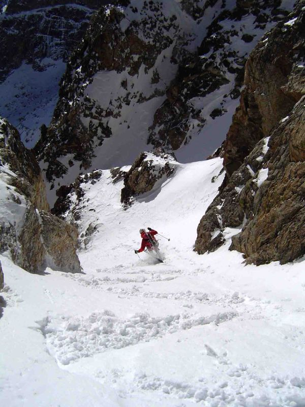 Reed Finlay skis the South Couloir of Teewinot