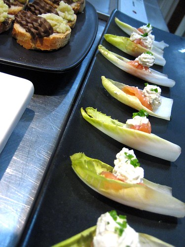 Endive Tips with Salmon and Capered Robiola & Liver Mousse with Spicy Califlower Coulis