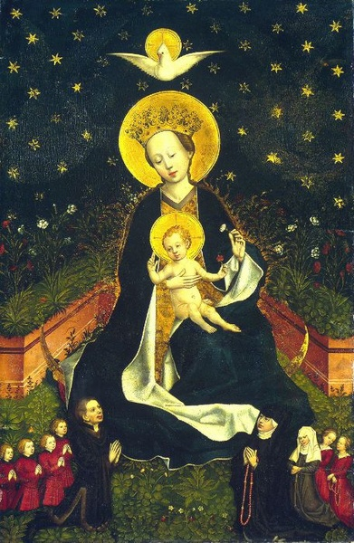 Mary, infant Jesus, donors with rosaries