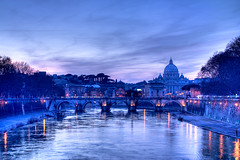 Saint Peter and Angels' Bridge Sunset, Rome - Italy (HDR) photo by luigig75