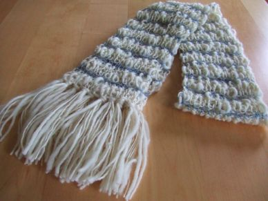 White & Blue Rib Scarf