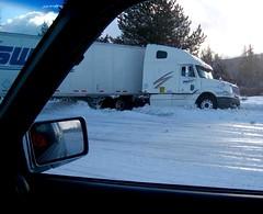 Icy roads near Moran
