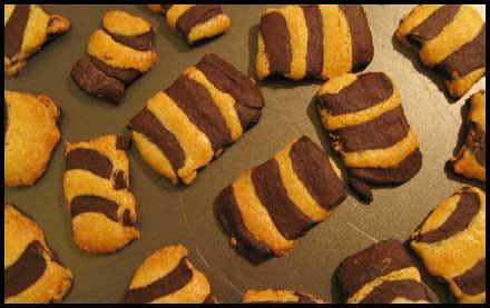 des biscuits à rayures