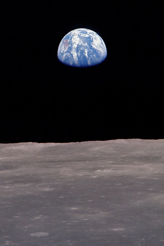 blue Earth from the moon iPhone wallpaper