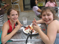 Micaela and Jessica get messy with crepes at Santa Monica's Acadie