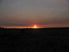 Bushfire smoke sunset