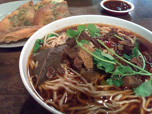 Beef Noodle Soup and Chive Pancakes