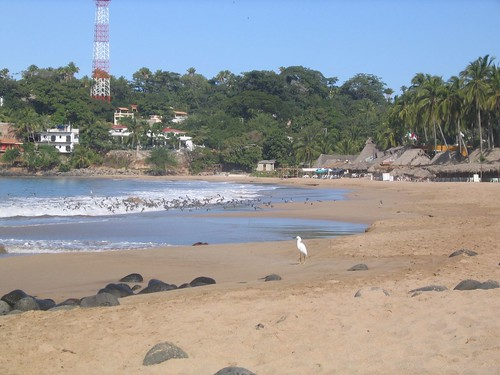 Chacala beach and palapas