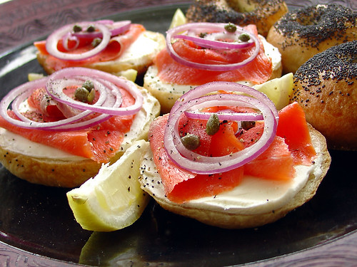 awesome smoked salmon on poppy seed bagels