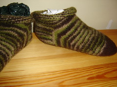 Felted Green/Brown Slippers