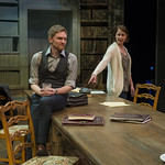 Kate Fry (Hannah Jarvis) and Scott Parkinson (Bernard Nightingale) in ARCADIA at Writers Theatre. Photo by Michael Brosilow.
