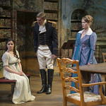 Elizabeth Stenholt (Thomasina Coverly), Nathan Hosner (Capt. Brice, RN), and Chaon Cross (Lady Croom) in ARCADIA at Writers Theatre. Photo by Michael Brosilow.