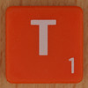 Scrabble white letter on orange T