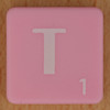 Scrabble white letter on pink T