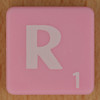Scrabble white letter on pink R