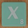 Scrabble white letter on pale green X
