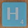 Scrabble white letter on pale blue H