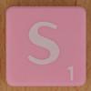 Scrabble white letter on pink S