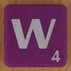 Scrabble white letter on purple W