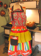 Frida in the Kitchen- recycled apron photo by lorimarsha