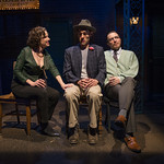Karen Janes Woditsch (Martha), Michael Perez (Stanley Kowalski) and John Hoogenakker (George) in DEATH OF A STREETCAR NAMED VIRGINIA WOOLF: A PARODY at Writers Theatre. Photo by Michael Brosilow.