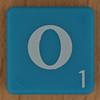 Scrabble white letter on blue O