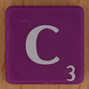Scrabble white letter on purple C