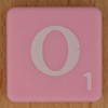 Scrabble white letter on pink O