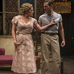Jennifer Engstrom (Blanche DuBois) and Michael Perez (Stanley Kowalski) in DEATH OF A STREETCAR NAMED VIRGINIA WOOLF: A PARODY at Writers Theatre. Photo by Michael Brosilow.