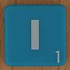 Scrabble white letter on blue I