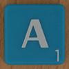 Scrabble white letter on blue A