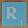 Scrabble white letter on pale blue R