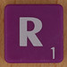Scrabble white letter on purple R