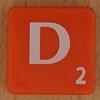 Scrabble white letter on orange D