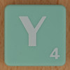 Scrabble white letter on pale green Y