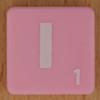 Scrabble white letter on pink I