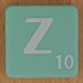 Scrabble white letter on pale green Z