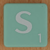 Scrabble white letter on pale green S