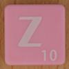 Scrabble white letter on pink Z