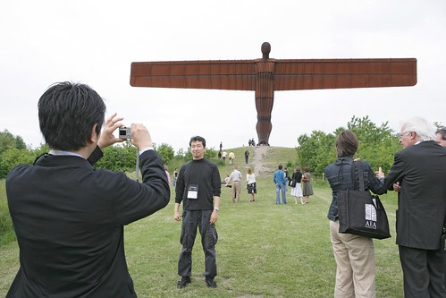 World Summit delegates visit the Angel of the North on the last day of the World Summit