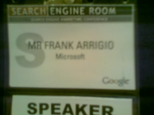 Speaker badge for search engine romm