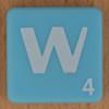 Scrabble white letter on pale blue W