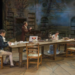 Alistair Sewell (Augustus Coverly), Christopher Sheard (Valentine Coverly), Elizabeth Stenholt (Thomasina Coverly), and Kate Fry (Hannah Jarvis) in ARCADIA at Writers Theatre. Photo by Michael Brosilow.